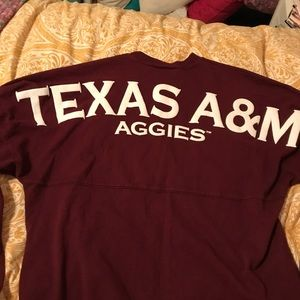 Long sleeve Aggie tee shirt with name on the back